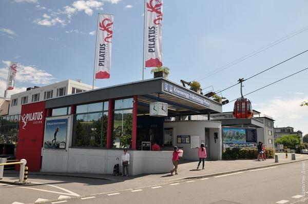Нижняя станция канатки расположена в городке Кринс, от которого до Люцерна можно добраться на автобусе