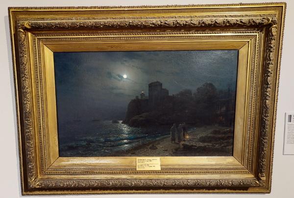 """Лев Лагорио, """"Лунная ночь на море"""", Серпуховской музей<br/><i>Написана на 6 лет позже любимой моей """"Лунной ночи на Днепре"""" Куинджи. Навеяно?</i>"""