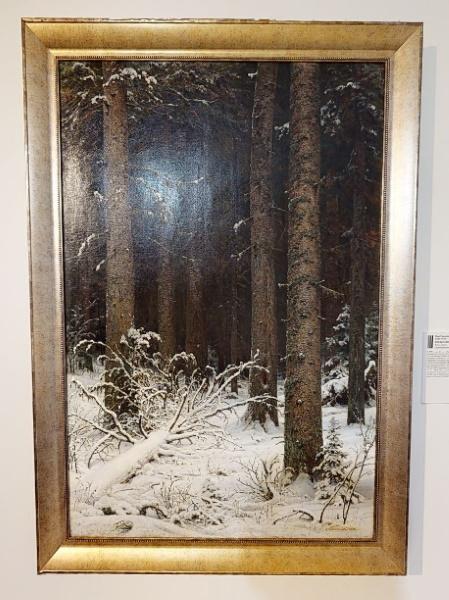 """Иван Шишкин, """"Еловый лес зимой"""", Серпуховской музей<br/><i>Еще один пример чудесной картины и неудачно выставленного света</i></i>"""